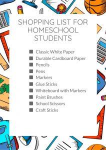 Shopping List for Homeschool Students